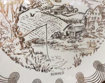 Vintage Decorative Gold plate Summer theme, idyllic pastoral scene, gold display plate