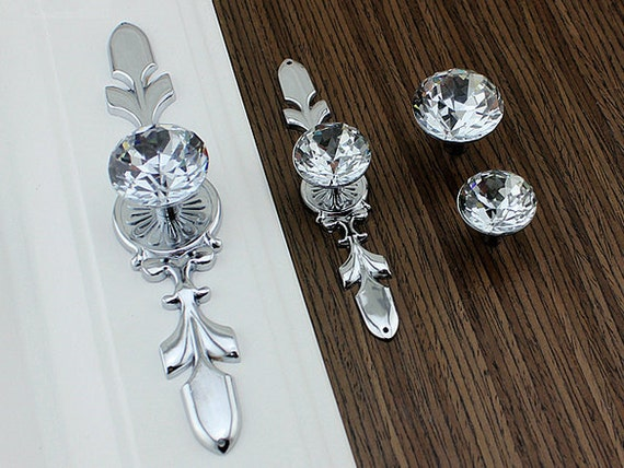 crystal drawer pull knob pulls rhinestone dresser knobs glass. Black Bedroom Furniture Sets. Home Design Ideas