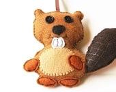 Beaver Ornament, Felt Beaver Ornament, Woodland Animal Ornament, Brown Beaver Ornament, Beaver Theme Gift