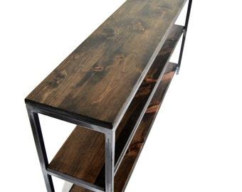 Steel Frame Three Level Shelf Console Table