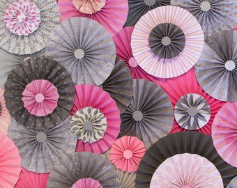 10pc Set of pink & Gray Paper Pinwheel's Rosette paper Flower Party Decoration wedding birthday shower pinwheel decour pinwheels paper fan