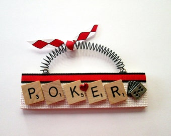 Love Poker Card Games Scrabble Tile Ornaments