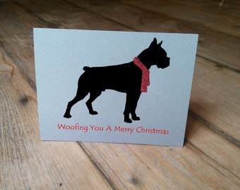 Woofing You A Merry Christmas - Boxer Cards - Boxer Dog Card - Dog with Scarf - Animal Card - Christmas Card