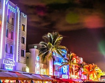 Miami South Beach Photography, Florida Photography, Ocean Drive, Neon Buildings, Large Wall Art, Wall Decor
