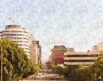Capitol Records, Hollywood Photography, Hollywood Landmarks, California, Large Wall Art, Art Print, Los Angeles