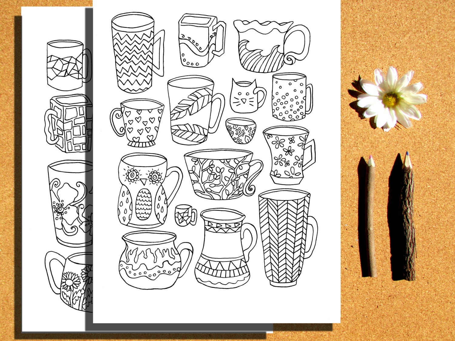 Instant Download 4 Coloring pages teapots coffee cups