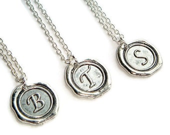 Wax Seal Necklace - Silver Initial Necklace - Initial Jewelry - Silver Letter Necklace - Wax Seal Jewelry - Personalized Jewelry -