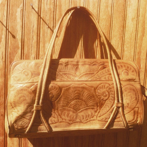 Hand Tooled Leather Carry All Bag Western Genuine Leather