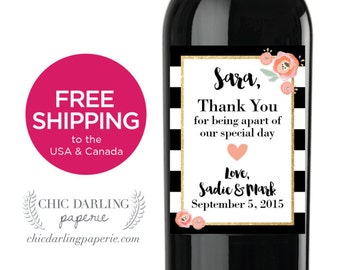 Printed Thank You Bridesmaid Wine Labels | Personalized Bridal Party Gift | Maid of Honor Wine, Free Shipping