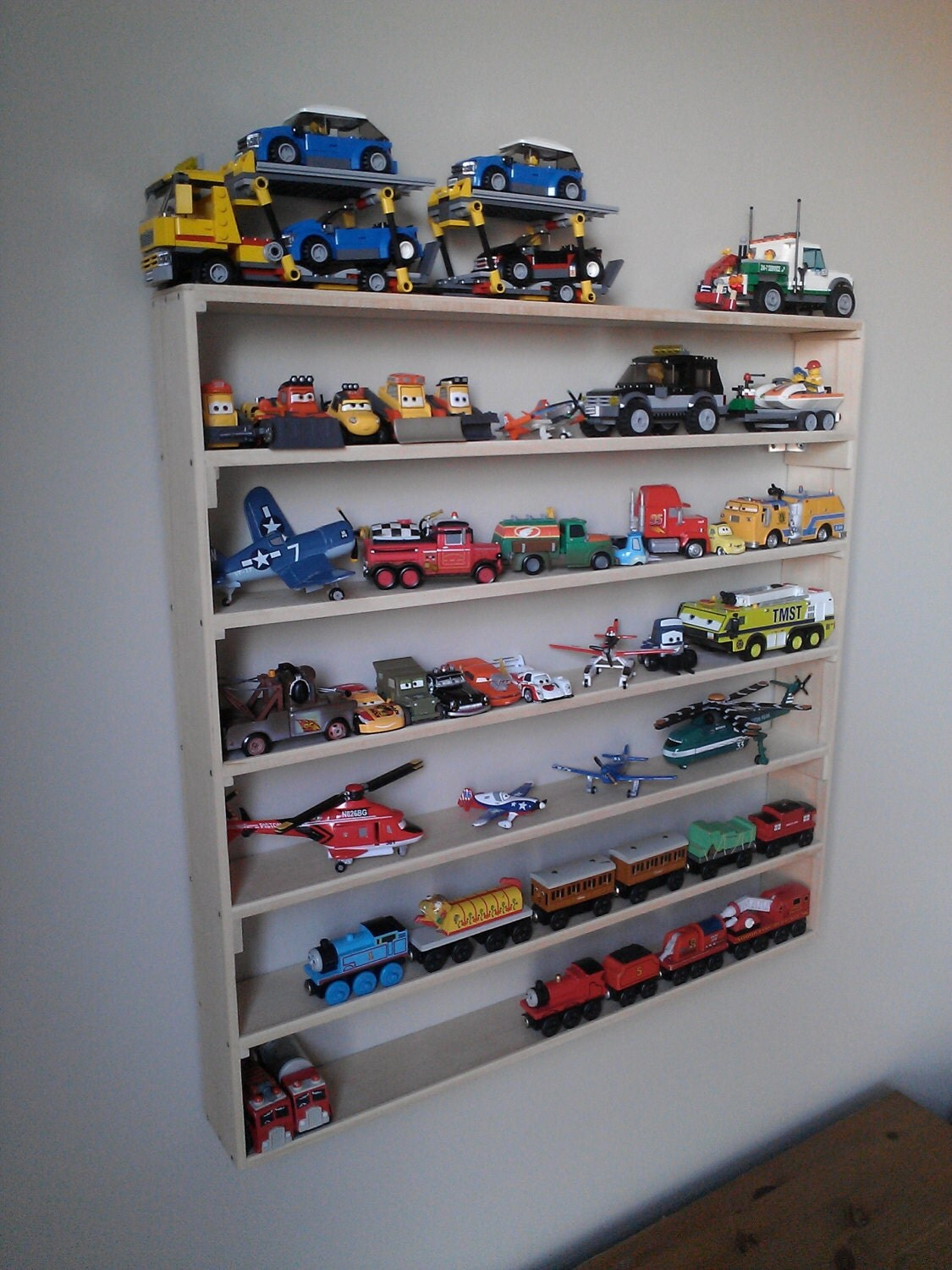 Toy Car Rack : Lego wall display rack toy storage minifigures boy room