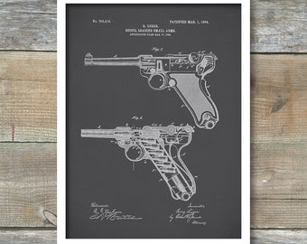 Luger Pistol Patent, Luger Pistol Poster, Luger Pistol Print, Luger Pistol Art, Luger Pistol Decor, Luger Pistol Wall Art, P138