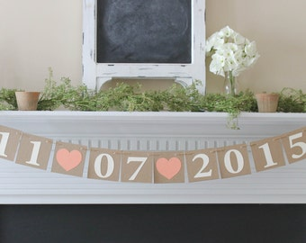 Save the Date Banner-Choose Your Colors-Wedding Date Banner-Wedding Sign-Wedding Photo Prop-Rustic Wedding-Engagement Banner