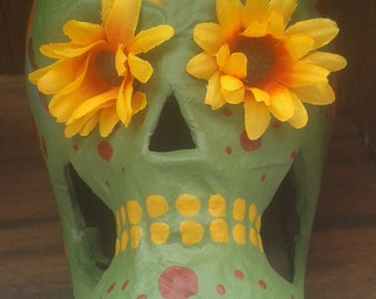 Autumn Roses Day of the Dead skull