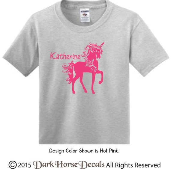 Fancy Unicorn Personalized Girl T Shirt Youth Toddler Tee