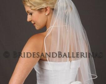 Pearl Beaded Veil, Pearl Edge Veil, Elbow Veil, Fingertip Veil, Bridal Tulle Veil,  Soft Tulle Veil, Ivory Veil with Pearls, ALL Lengths!