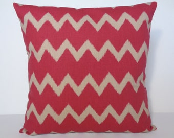 Pillow Cover Chevron, Red and Tan Pillow, Chevron Pillow