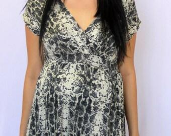 Animal Print Design Fashion Maternity Women's Short Sleeve Top S M L XL