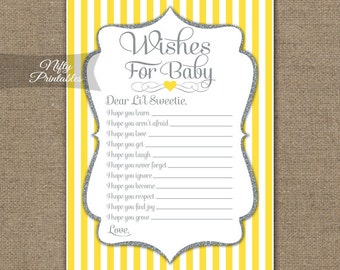 Wishes For Baby Game - Yellow Gray Baby Shower Game - Yellow Baby Wishes Cards - Printable Yellow Silver Hopes For Baby Game - YGL