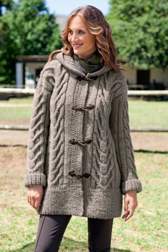 Women's hand knit hooded cardigan cabled cardigan jacket