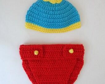 Eric Cartman Costume South Park Hat And Diaper Cover Craig Tucker, Kyle Broflovski, Stan Marsh - Newborn Halloween