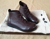 Handmade Brown Shoes,Black Ankle Boots,Oxford Women Shoes, Flat Shoes, Retro Leather Shoes, Casual Shoes, Short Boots