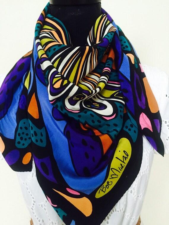 vintage bob mackie silk colorful butterfly scarf neck wrap