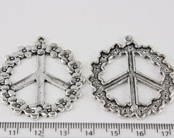 Pewter Peace Sign Pendant (3 pendants) 40mm