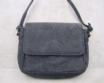 Vintage dark grey suede small size cross body bag