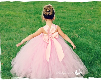 On Sale! Pink Flower Girl Dress, Pink Tutu Dress, Pink Tulle Dress, Pink Dress, Pink Wedding, Pink