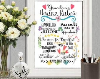 Mothers day gift Grandma's House Rules Grandma printable Grandparents Watercolor Grandmother gift art Grandma decor 16x20 8x10 5x7 DOWNLOAD