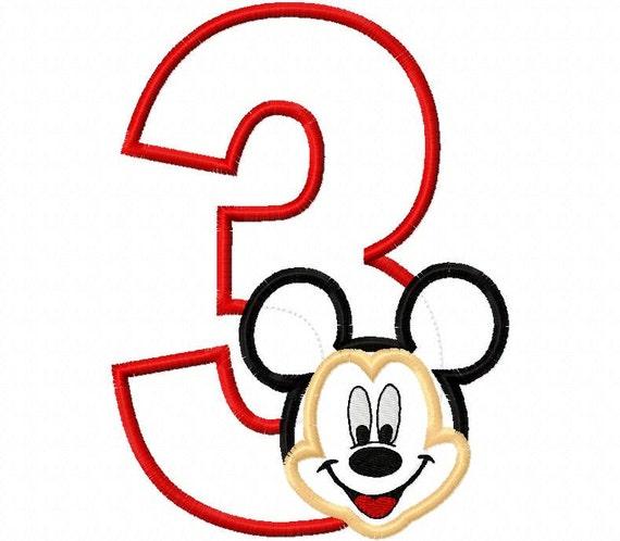 Mr. Mouse Birthday Number three third 3rd 3 Applique Design Applique Machine Embroidery Design