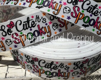 "New 7/8"" HALLOWEEN Glitter So Cute It's SPOOKY Grosgrain Ribbon sold by the yard"