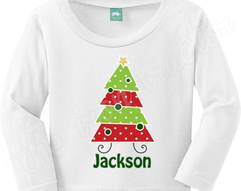 Chevron Tree Christmas Outfit with Name