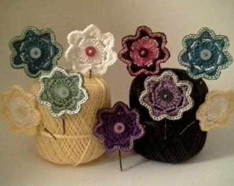Crochet Button Flower Hairpins Made to Order