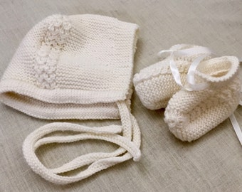 Princess Charlotte Knitted Cap Set - Bespoke Bonnet and Booties - Christening Bonnet -  New Baby Gift - Baby Shower