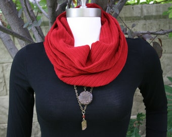 Infinity Cowl Cranberry Red Chalet Sweater Knit Neck Warmer Scarf