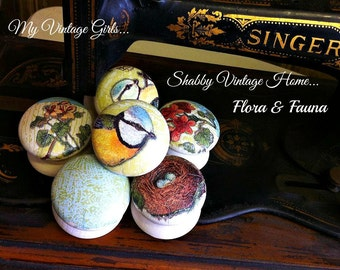Wood Drawer Knobs Pulls Painted Door Handles Hand Crafted Birds Nest Flowers