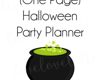 Printable HALLOWEEN PARTY PLANNER - One Page - Instant Download