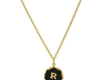 "Necklace R Letter Gold Tone Edged Black Enamel Initial ""R"" Pendant Necklace"