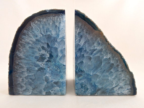 Geode bookends large pale blue agate crystal book ends - Geode bookends ...
