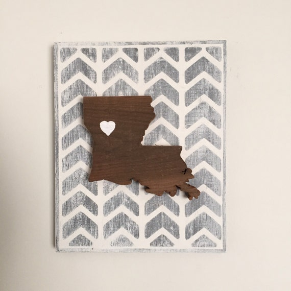State Sign - Choose Your State! Rustic Wood State Sign | Gray Herringbone State Love Sign