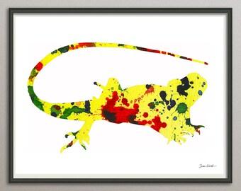 gecko wall art print wall decor poster watercolor painting, animals wall art print poster, nursery wall art art print poster