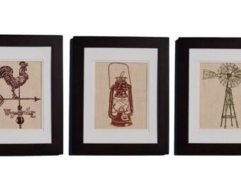 Rustic Wall Decor Set of 3 - Country Prints - Farm Kitchen Decor - Farm Equipment - Barnyard -  Lantern Windmill Weathervane