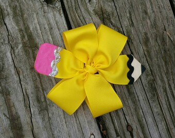 Yellow Pencil Hairbow on Barrette.
