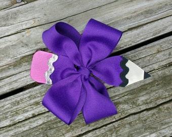 Purple Pencil Hairbow on Barrette