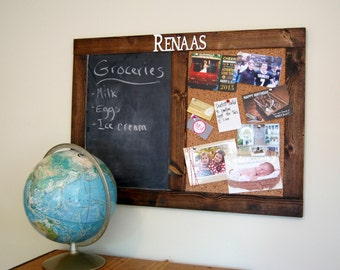 "Rustic Personalized Chalk & Cork Bulletin Board 24"" x 36"""