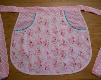 Half Apron, Retro Style with Pink French Poodle Print