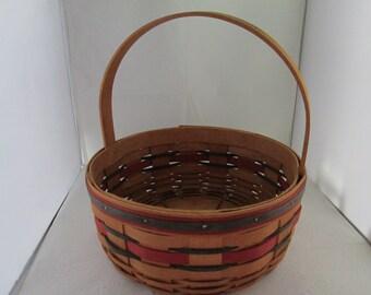 Longaberger Crisco American Cookie Celebration Round Basket with Stationary Handle Longaberger Basket Handwoven basket Longenberger basket
