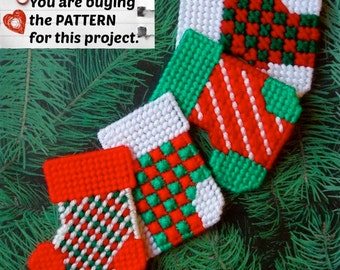 "Plastic Canvas Pattern: Christmas Stockings -- ""Checks and Stripes"" (4 designs) ***PATTERN ONLY***"