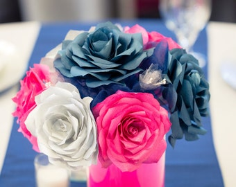 Navy Blue Hot Pink And Silver Wedding Centerpieces Reception Table Decor Bridal Shower